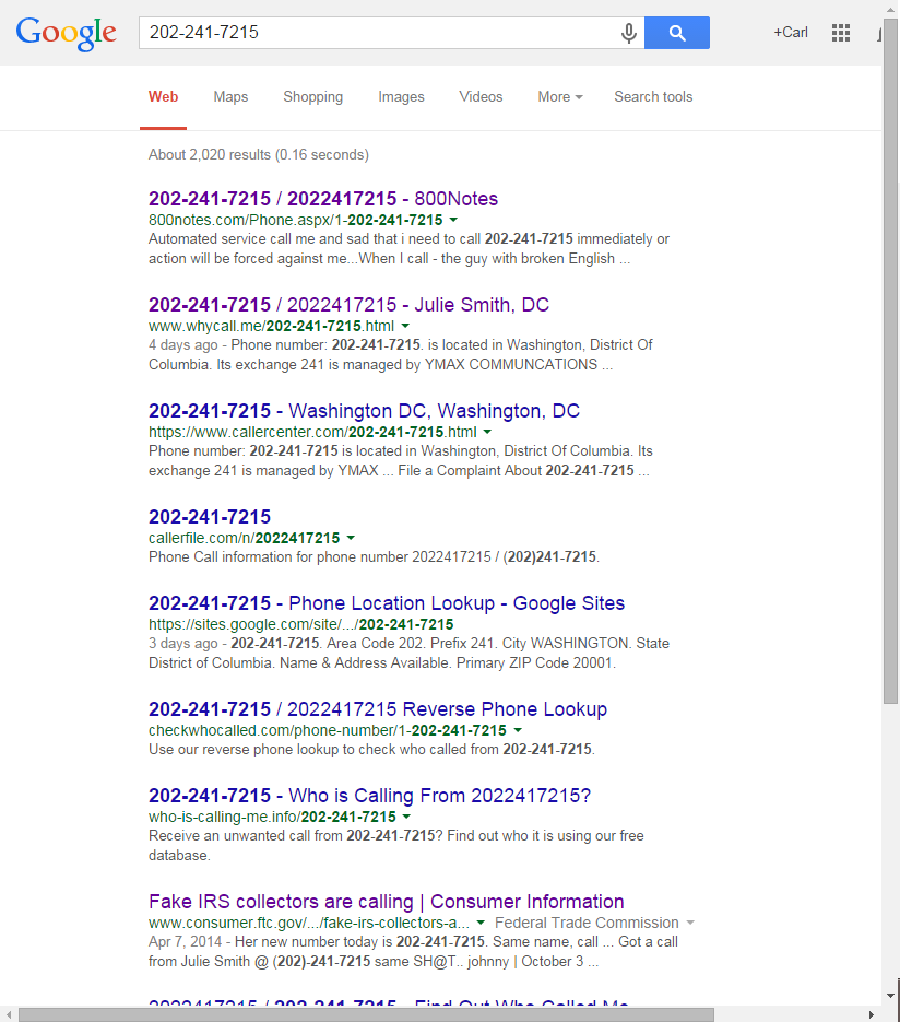 Google results for IRS scammer phone number
