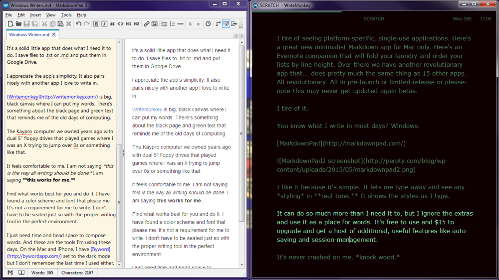 Windows Writing Environments