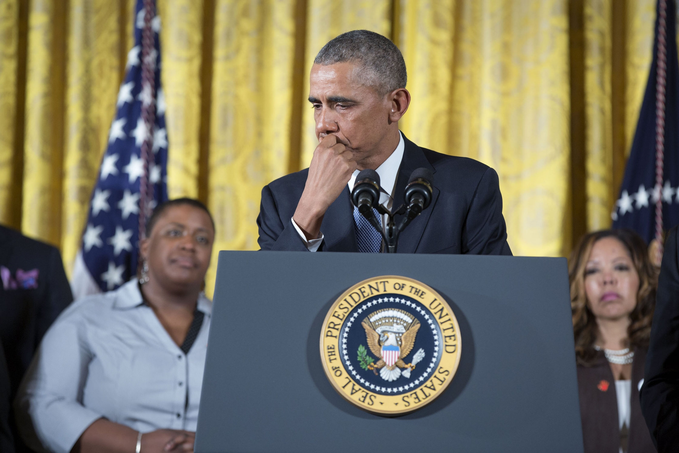 President Barack Obama tears up as he delivers remarks to announce steps that the administration is taking to reduce gun violence, in the East Room of the White House, Jan. 5, 2016. (Official White House Photo by Pete Souza)